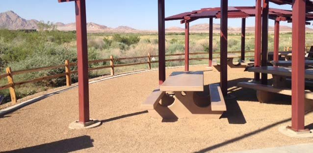 A bench at Wetlands Park under which a stash of cash was located in a scavenger hunt on Tuesday, June 3. (Erik Ho/FOX5)