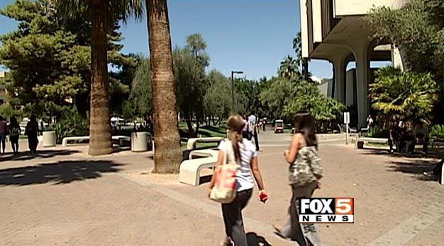 Students on the campus of University of Nevada, Las Vegas on Thursday June 5. (FOX5)