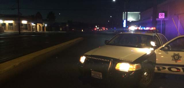 A Las Vegas Metro vehicle parked outside the Oak Tree Apartments on Sunday, June 8. (Lindsay Curtis/FOX5)