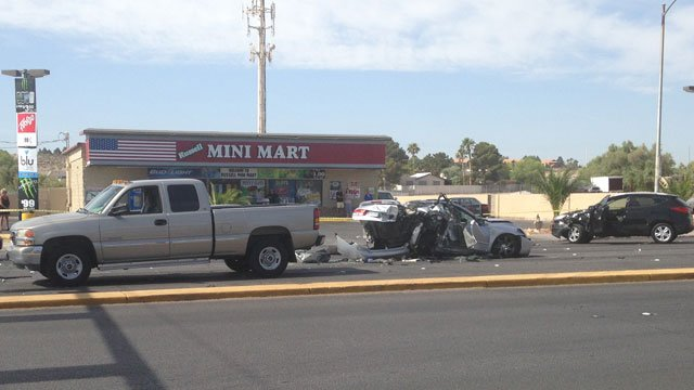 Four vehicles were involved in a wreck at Russell Road and Mountain Vista Street on June 10, 2014. (Joe Lybarger/FOX5)