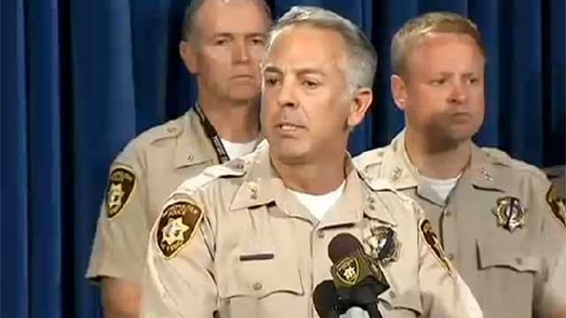 Assistant Sheriff Joe Lombardo talks to the media during a June 9, 2014, press conference. (FOX5)