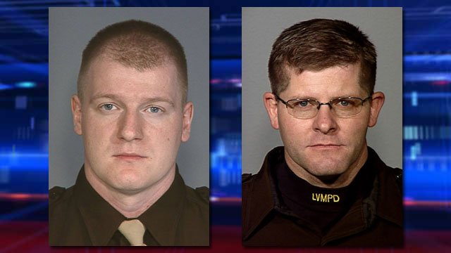 The Las Vegas Metropolitan Police Department identified the officers killed in an ambush-style shooting at a restaurant as Officer Igor Soldo, 31, left, and Officer Alyn Beck, 41, right. (Source: LVMPD)
