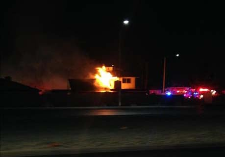 A house on Huntley Road in Las Vegas burns on Thursday, June 12. (Source: FOX5 Report It)