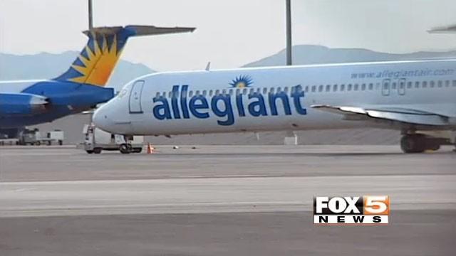 Allegiant airplane on runway in Las Vegas. (File/FOX5)