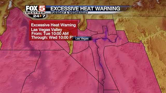 This info graphic shows the parts of Southern Nevada under an excessive heat warning July 1, 2014. (FOX5)