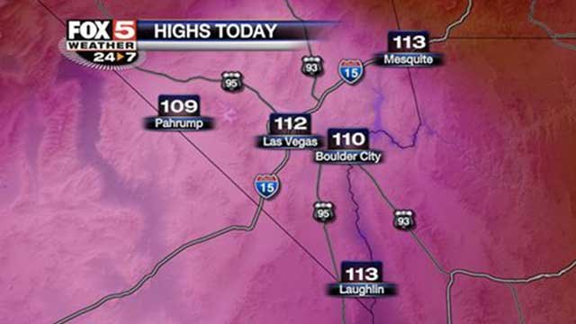 This info graphic shows the forecast high temperatures for Southern Nevada on July 2, 2014. (FOX5)
