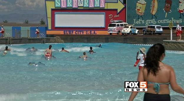 People in the water at Cowabunga Bay water park in Henderson on Sunday, July 6. (FOX5)
