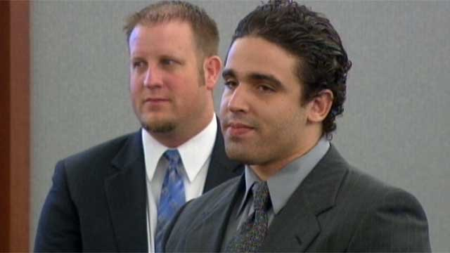 Joey Kadmiri, right, appears in court for his trial on July 8, 2014. (FOX5)