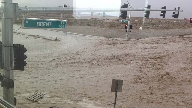 A section of Brent Lane in northeast Las Vegas is flooded in this file image. (File/FOX5)