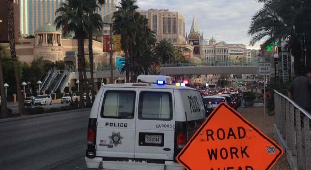 Las Vegas Metro vehicles parked along Las Vegas Boulevard following a shooting at Fashion Show Mall on Tuesday, July 15. (Elizabeth Watts/FOX5)