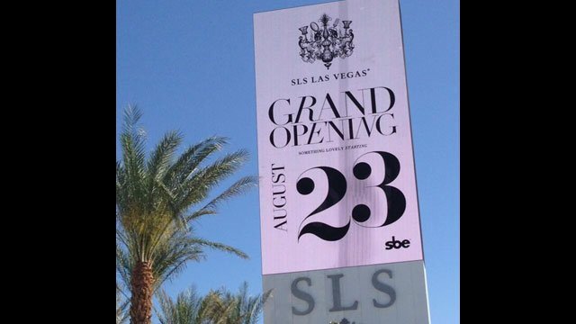 The 88-foot LED marquee at SLS Las Vegas shows its opening date of August 23, 2014. (Photo: SLS Las Vegas)