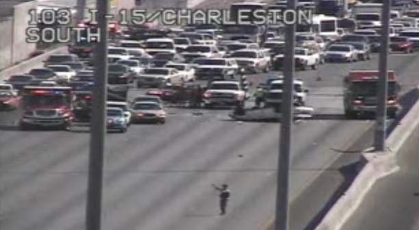 A traffic camera still shows a multi-vehicle accident on Interstate 15 between Sahara and Charleston avenues on Wednesday, July 16. (FOX5)
