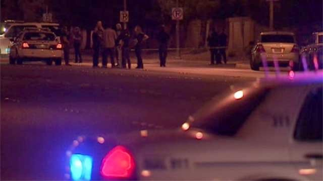 North Las Vegas police investigated an officer-involved shooting of a man on a motorized scooter near Tropical Avenue and Revere Street on July 18, 2014. (Armando Navarro/FOX5)