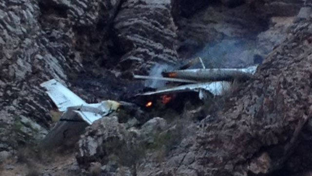 A small plane crashed just south of Interstate 15 in Mohave County, AZ, on July 20, 2014. (Arizona Dept. of Public Safety)