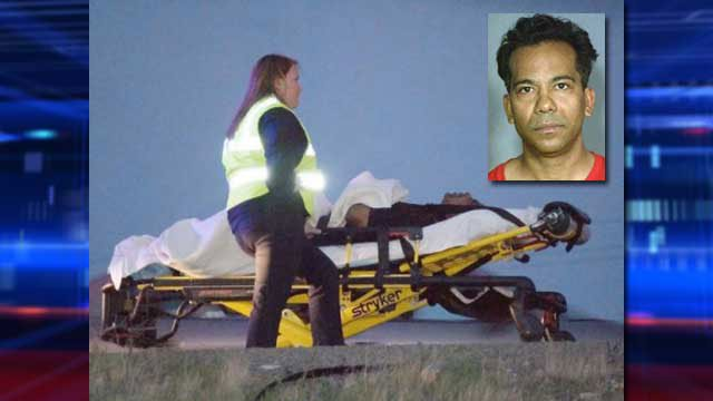 A person was seen placed on a stretcher shortly after a high-speed chase in Barstow, Calif. on March 28, 2013. It was speculated that Steven Brooks was the person on the stretcher. (Picture courtesy: vvdailpress.com; inset booking photo: LVMPD)