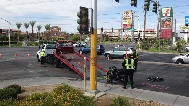 North Las Vegas police said a motorcyclist was involved in a wreck with a truck at Losee and Craig roads on July 28, 2014. (Eric Youngman/FOX5)