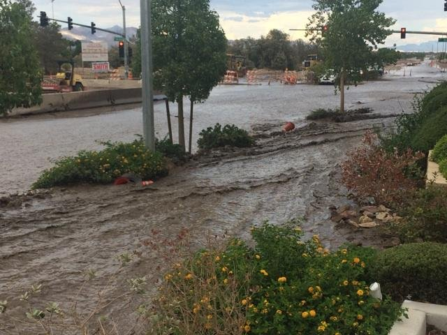 A portion of Grand Teton Drive in the northwest Las Vegas Valley is flooded on Aug. 4. (Lindsay Curtis/FOX5)