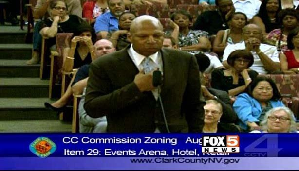 Arena developer Jackie Robinson appears before the Clark County Commission on Wednesday, Aug. 6. (FOX5)
