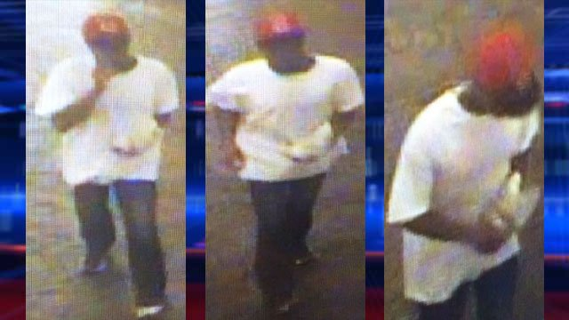 Police said a man last seen wearing a red cap is the suspect in an Aug. 3, 2014 holdup at a food court on Las Vegas Boulevard. (LVMPD)