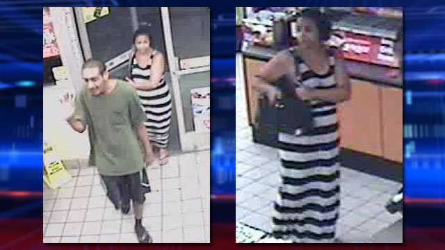 Police said the couple pictured took part in robbing a driver of his vehicle and cell phone on August 5, 2014. (LVMPD)