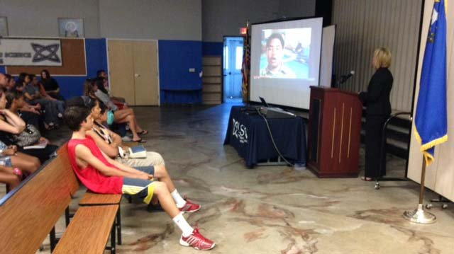 Nevada state Sen. Barbara Cegavske shows an anti-bullying video to students at Coral Academy of Science in Las Vegas on Monday, Aug. 18. (Erik Ho/FOX5)