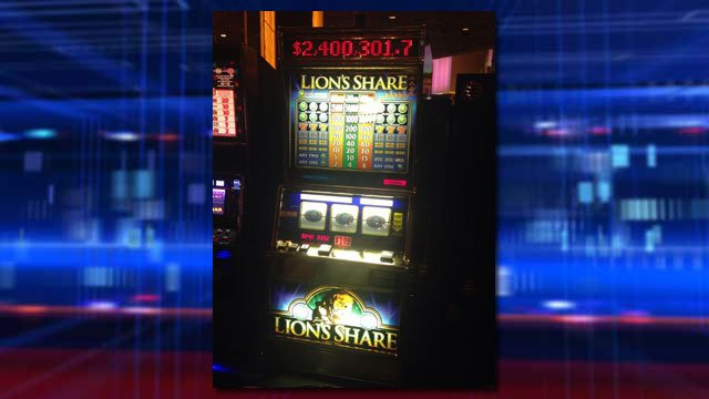 MGM Grand released a photo of the Lion's Share slot machine after a New Hampshire man hit its jackpot for $2.4 million. (Source: MGM Grand/Twitter)