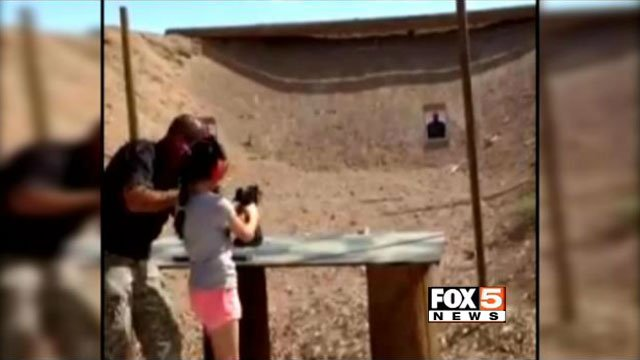 Cell phone video shot by the 9-year-old's mother was released Tuesday showing the moments leading to the fatal shooting at a White Hills, AZ, gun range. (Source: Mohave Co. Sheriff's Office)