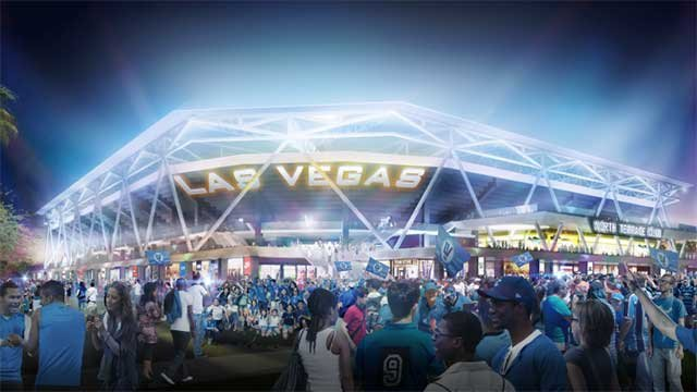 An artist's rendering of the exterior of a proposed MLS stadium in downtown Las Vegas. (Source: City of Las Vegas)