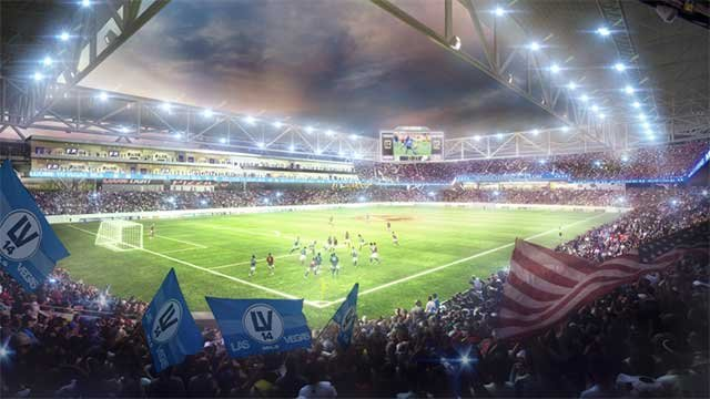 An artist's rendering of the interior of a proposed MLS stadium in downtown Las Vegas. (Source: City of Las Vegas)