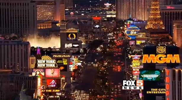 The lights of the Las Vegas Strip are seen from a helicopter. (File/FOX5)