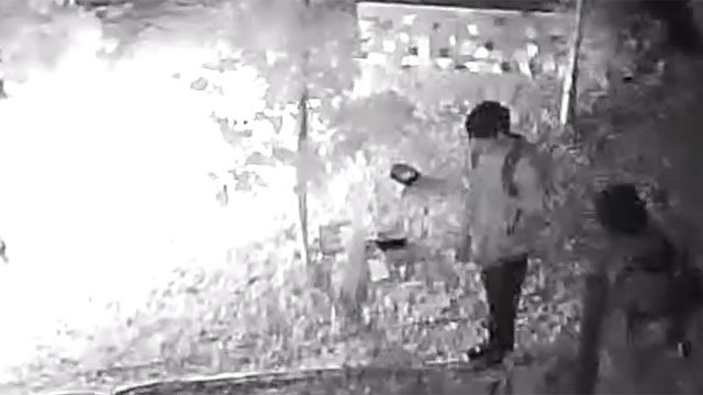 Las Vegas Metro police released video of three people captured on camera on July 2, 2014, the same night an attempted burglary occurred. (Source: LVMPD/YouTube)