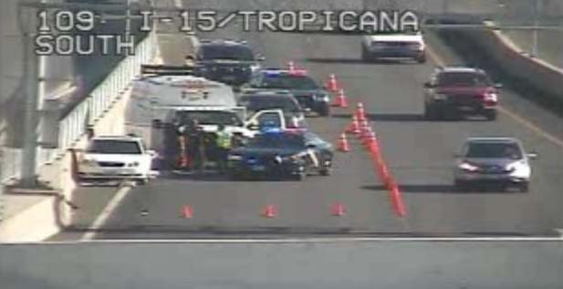 Nevada Highway Patrol troopers on the scene of a single-vehicle crash near Interstate 15 and Tropicana Avenue on Tuesday, Sept. 2. (FOX5)