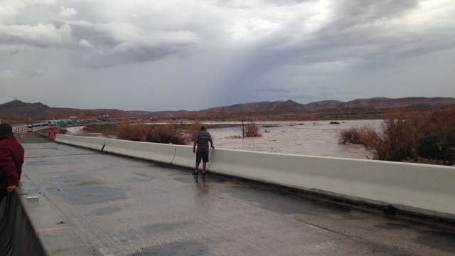 A muddy river forms near Interstate 15 in Moapa following heavy rain on Monday, Sept. 8. (Danielle Miller/FOX5)