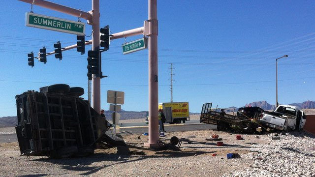 NHP said two landscaper-type trucks were involved in a wreck at Summerlin Parkway and the 215 Beltway on Sept. 17, 2014. (Jason Valle/FOX5)