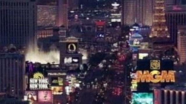 The bright lights and marquees of the Las Vegas Strip are seen in this undated areal image. (File/FOX5)