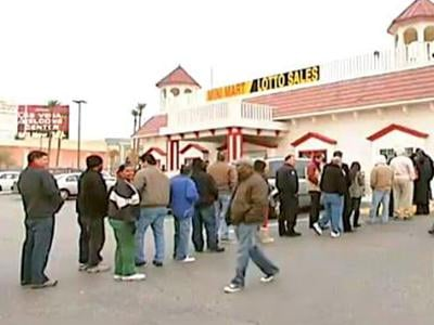 Players line up to purchase lotto tickets at the California-Nevada border.