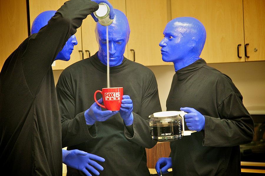 The Blue Men visit FOX5. (FOX5 file)