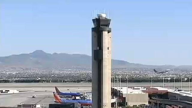 A tower at McCarran International Airport appears in this undated file photo. (File/FOX5)