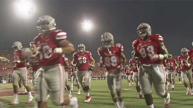 UNLV Rebel football players are shown on the field in this undated image (FOX5).