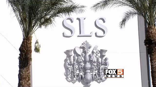 The exterior of SLS Las Vegas appears on Aug. 23, 2014. (FOX5)