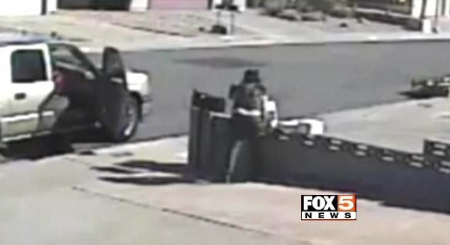 Surveillance still from a theft that occurred at a home near Warm Springs Road and Boulder Highway in Henderson. (FOX5)