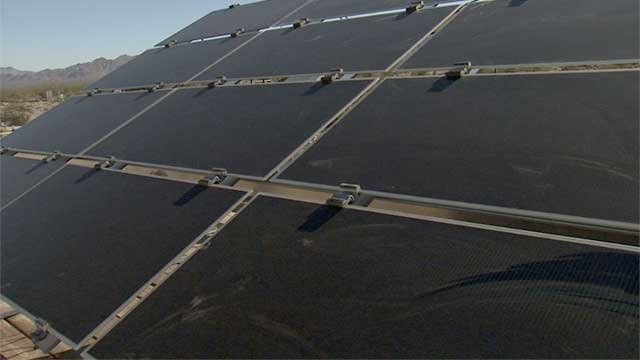 Solar panels are unveiled at a power plant in the Nevada desert. (File/FOX5)