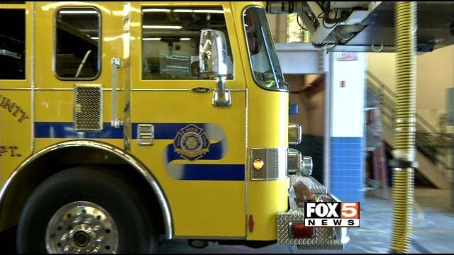 A Clark County Fire Department truck appears in this image from Tuesday, Oct. 28. (FOX5)