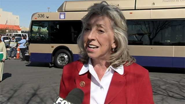 Democratic Rep. Dina Titus, Dist. 1, talks to FOX5 about bus stop safety in Las Vegas. (File/FOX5)