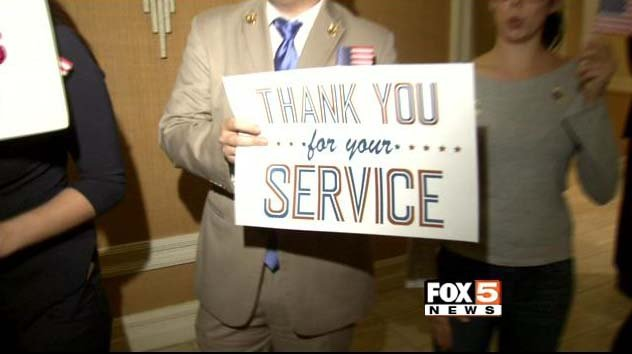 A sign welcomes wounded veterans to Mirage Hotel and Casino on Friday, Nov. 7. (FOX5)