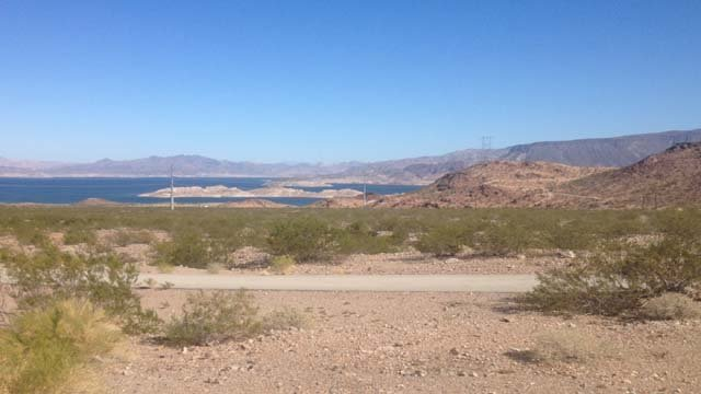 Lake Mead appears on the horizon in this photo from Monday, Nov. 10. (Les Krifaton/FOX5)