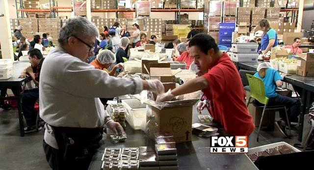 Opportunity Village employees work inside the nonprofit's campus on Oakey Boulevard in Las Vegas. (FOX5)