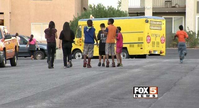 Children mill in the Sierra Oesta neighborhood in northwest Las Vegas. (FOX5)