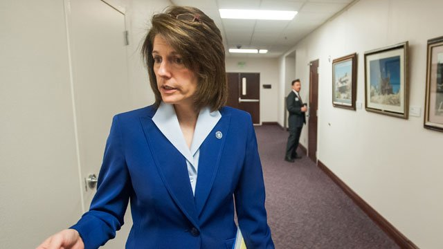 Former Nevada Attorney General Catherine Cortez Masto talks to an Associated Press reporter about sex traffickers at the Legislative Building in Carson City, Nev., on Wednesday, May 29, 2013. (AP Photo/Kevin Clifford)