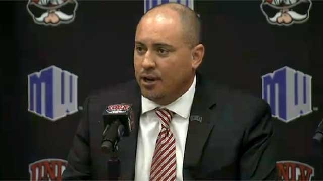 Tony Sanchez talks to the media after being officially introduced as UNLV's choice to be its next football coach Dec. 11, 2014. (Robbie Hunt/FOX5)